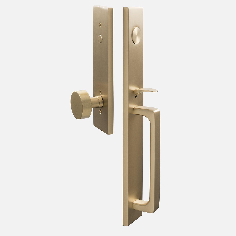 Exterior Front Entry Door Knob Handle Keyed Deadbolt Lock Brass Handleset Home