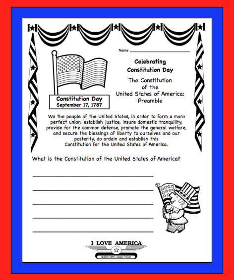 U s constitution day sept 17 free writing coloring for Constitution day coloring pages kindergarten