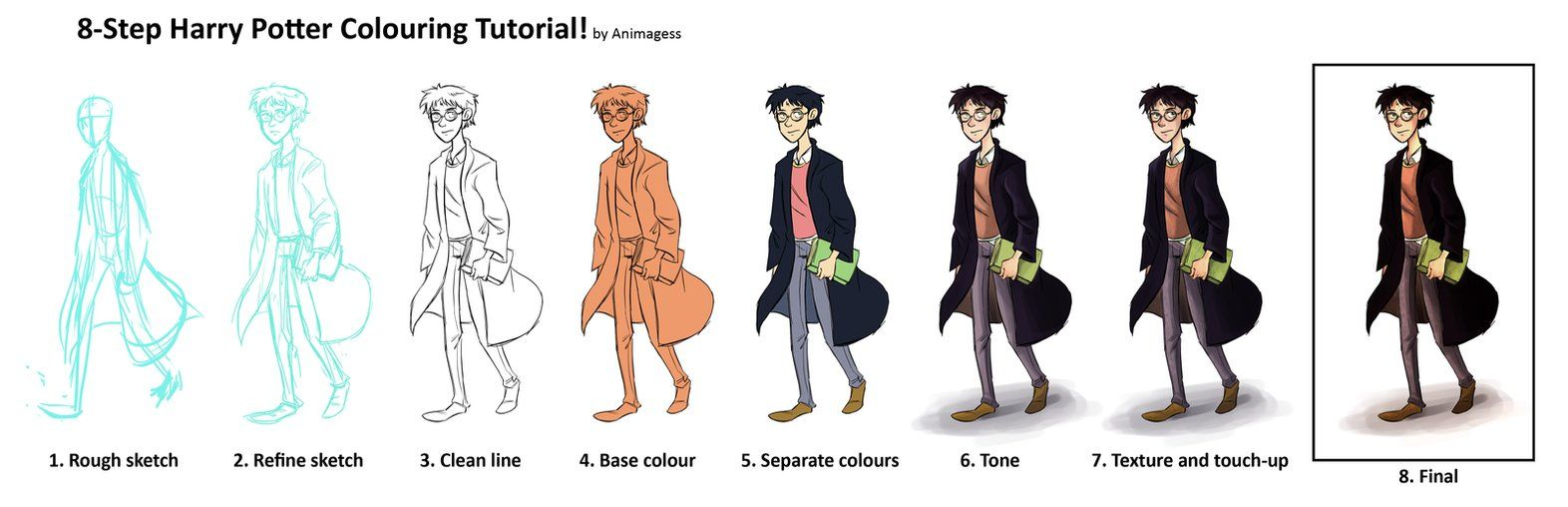 harry potter coloring tutorial by animagess deviantart com on