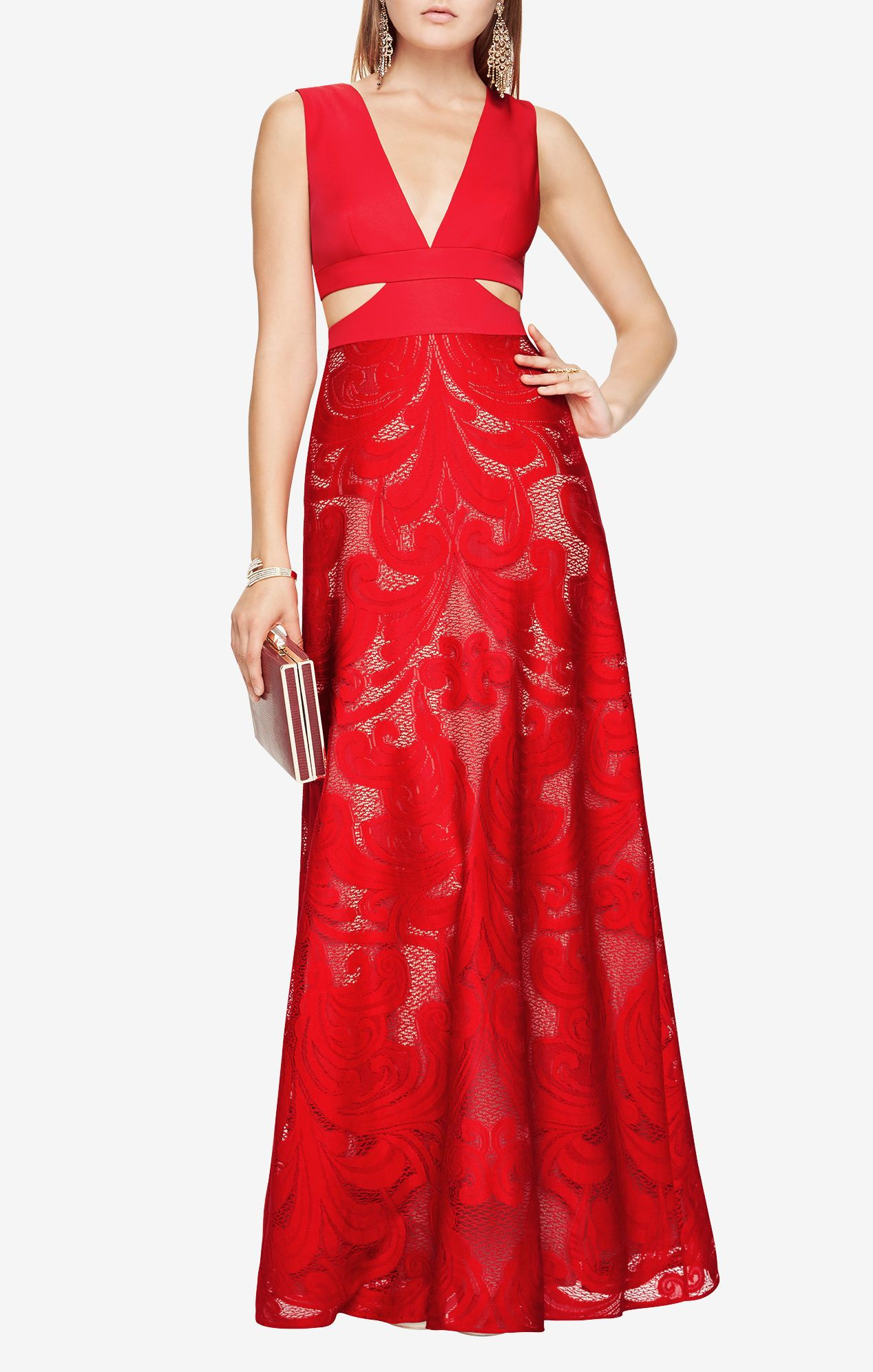 BCBG - \'Marilyne\' Cutout Lace Gown in Rouge Red. | Fancy and Formal ...