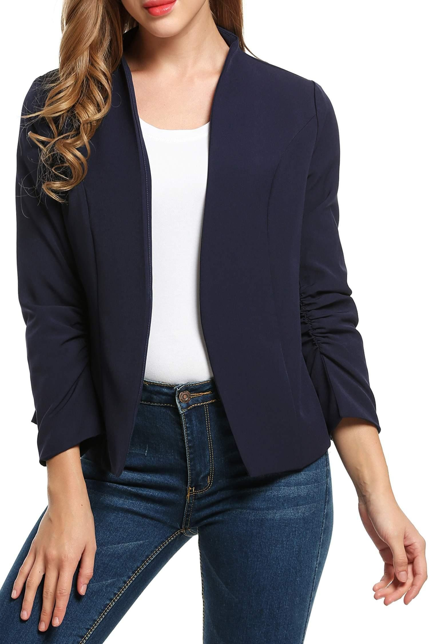 cf55701dcd Beyove Women s Cotton Long Sleeve Slim Short Blazer Suit Jacket Work Office Open  Front Cardigan Blazer Navy Blue XXL
