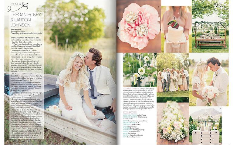 Utah Valley Bride Magazine Feature A Romantic Bohemian Wedding Trendy Tuesday Culinary Crafts Magazine Cover Layout Wedding Magazine Magazine Design