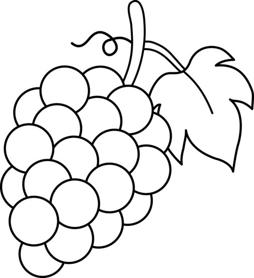 Grapes Black And White Lineart Free Clip Art Fruit Coloring Pages Grape Drawing Coloring Pages
