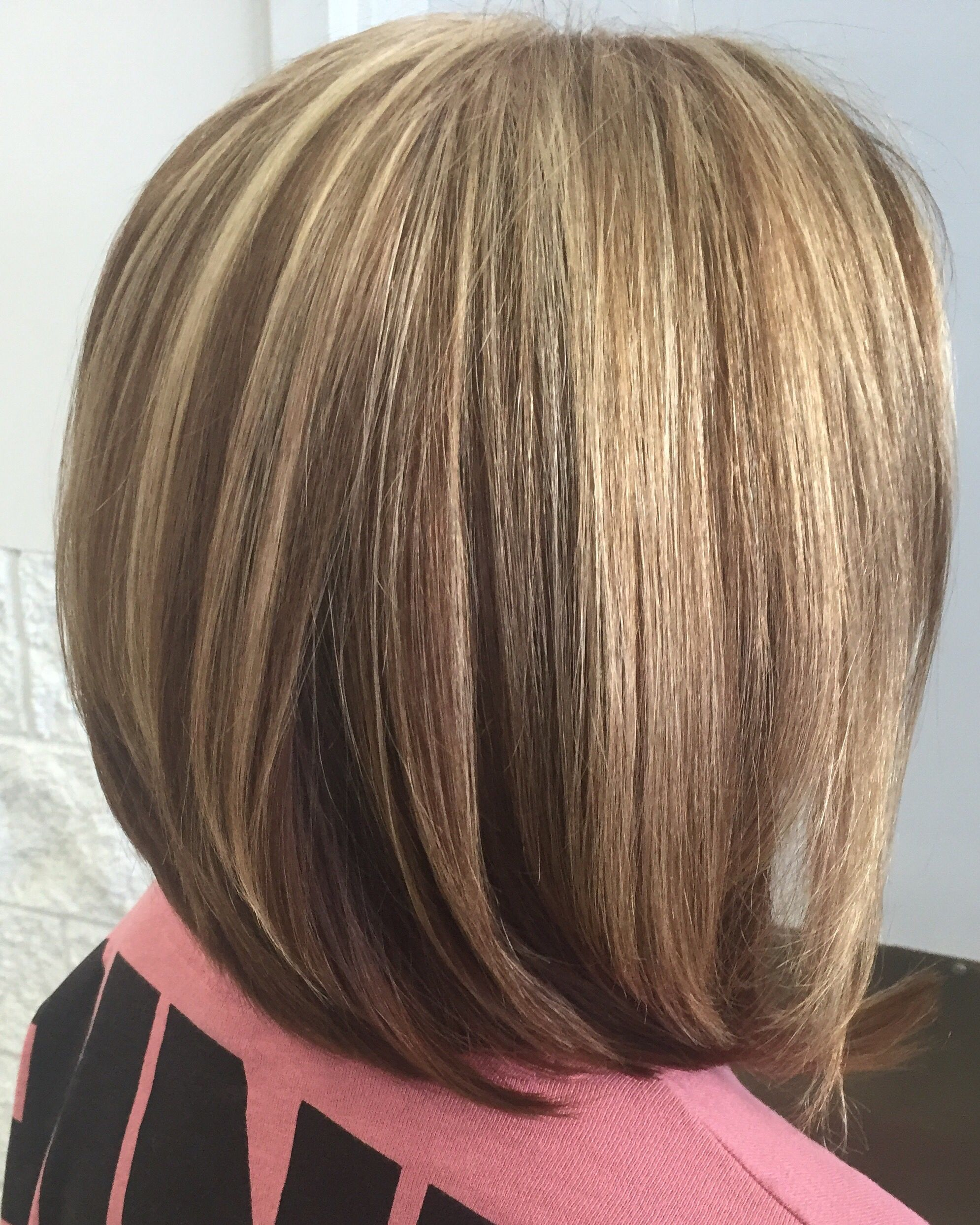 Beige blonde highlights and lowlights bob haircut | Hairbrained ...