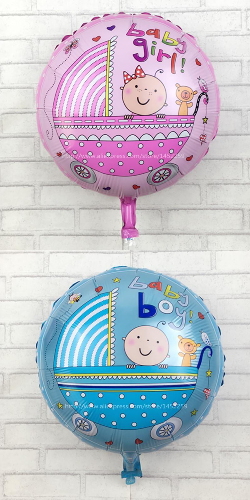 XXPWJ5pcs Lots Trade New Helium Balloon Birthday Party Decorations Balloons Wholesale Aluminum Round Baby Gender L 006