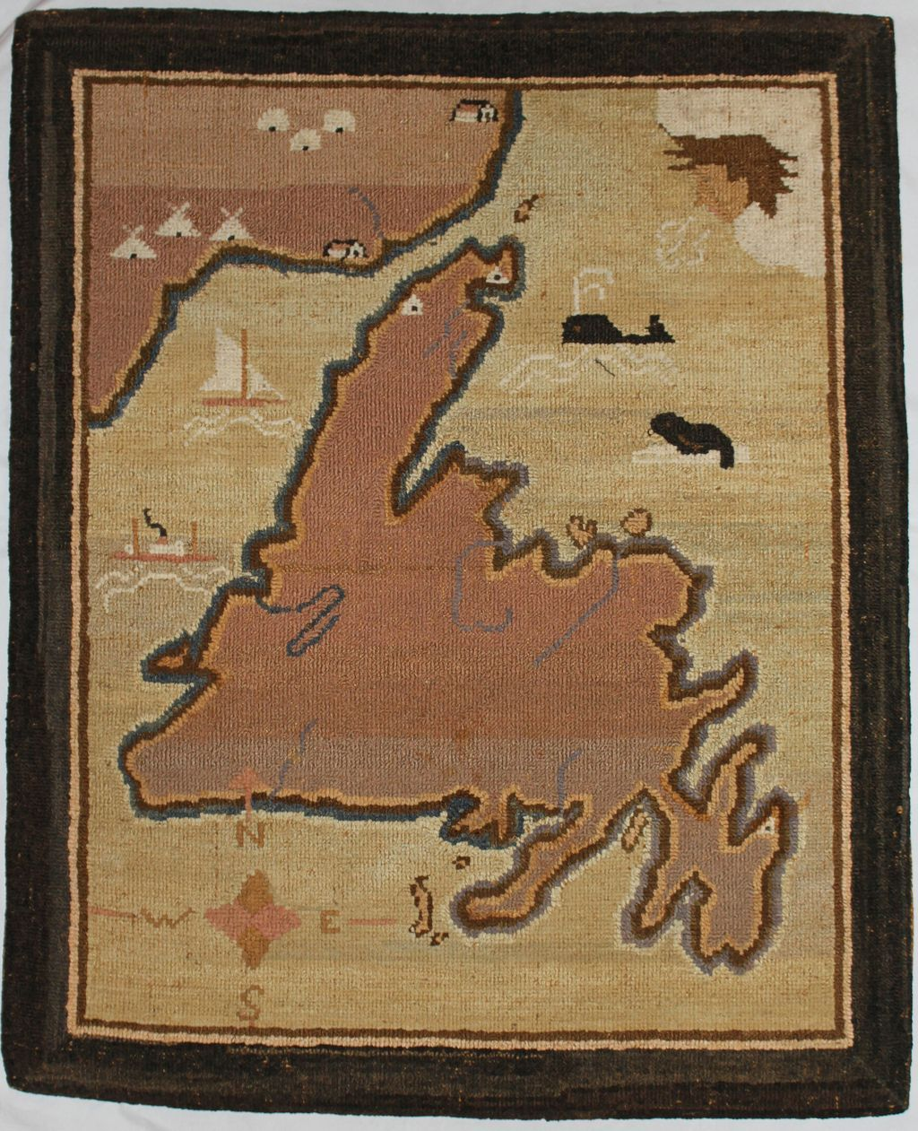 Grenfell Hooked Rug Or Mat Of The Island Of Newfoundland
