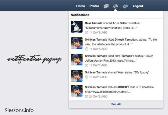 Facebook Style Notification Popup Using Css And Jquery Facebook Style Jquery Css