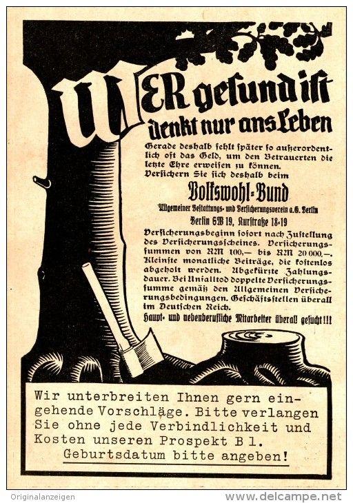 OriginalWerbung/ Anzeige 1936 VOLKSWOHL BUND