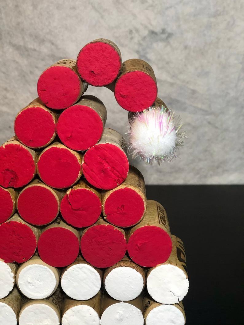 Wine Cork Santa Hat Etsy In 2020 Cork Crafts Christmas Wine Cork Crafts Christmas Wine Cork Ornaments