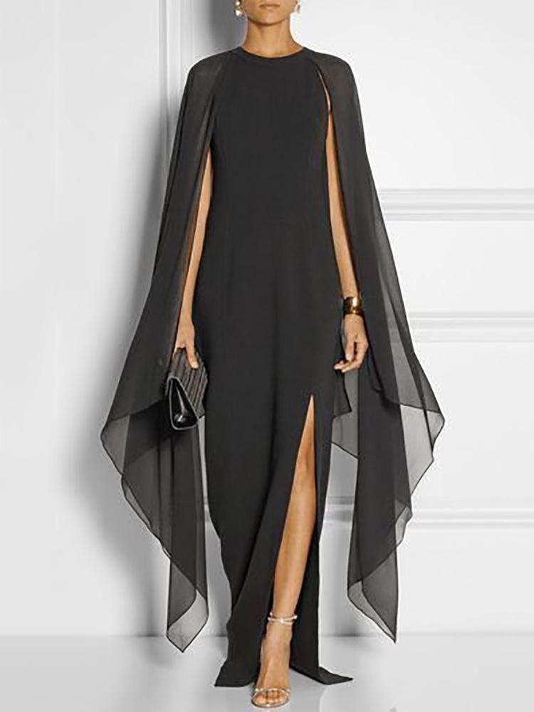 ac04f374c6c Stylish Cape Sleeve High Slit Maxi Dress
