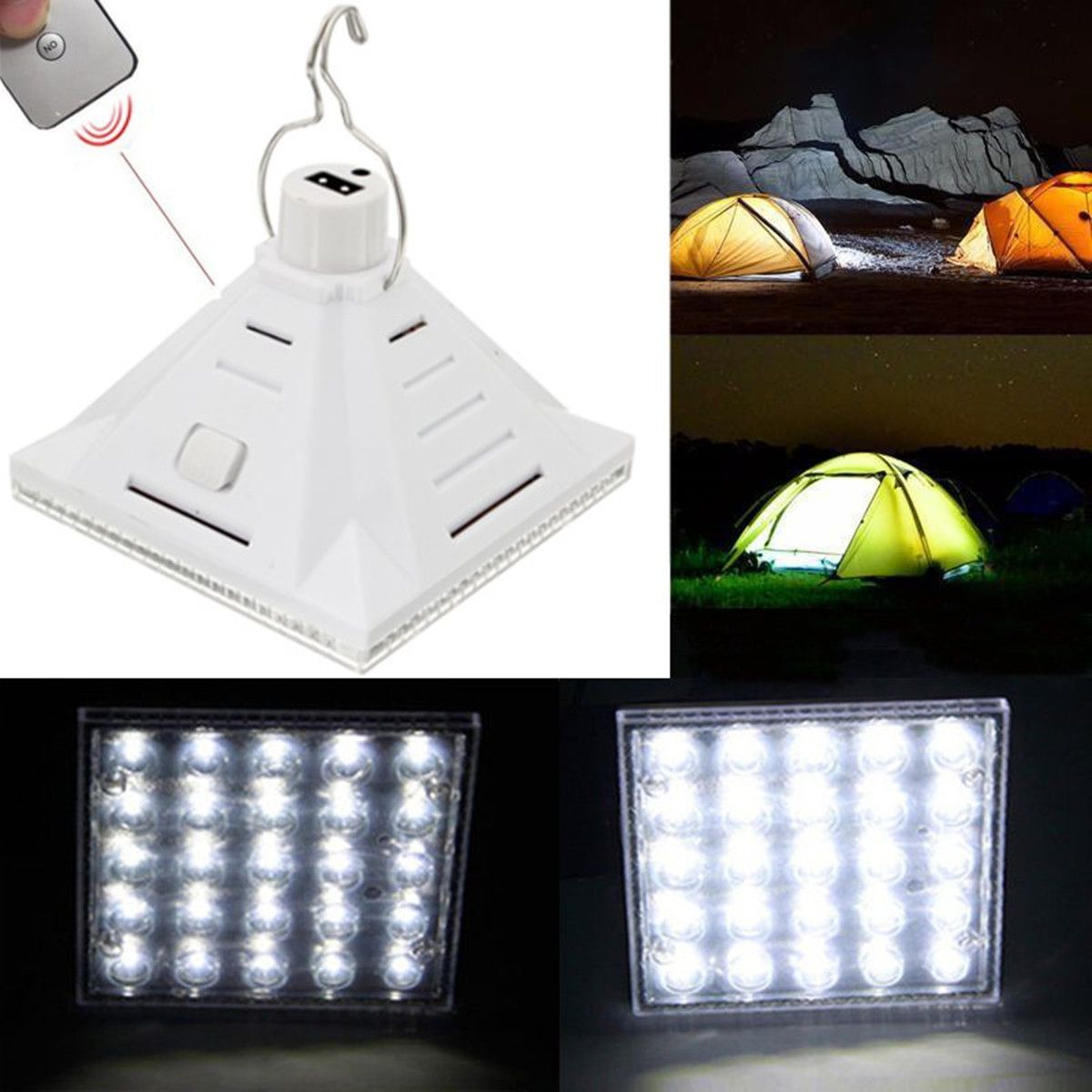 25LED White Solar Powered C&ing L& Remote Control Hanging Outdoor Tent Light  sc 1 st  Pinterest & 25LED White Solar Powered Camping Lamp Remote Control Hanging ...