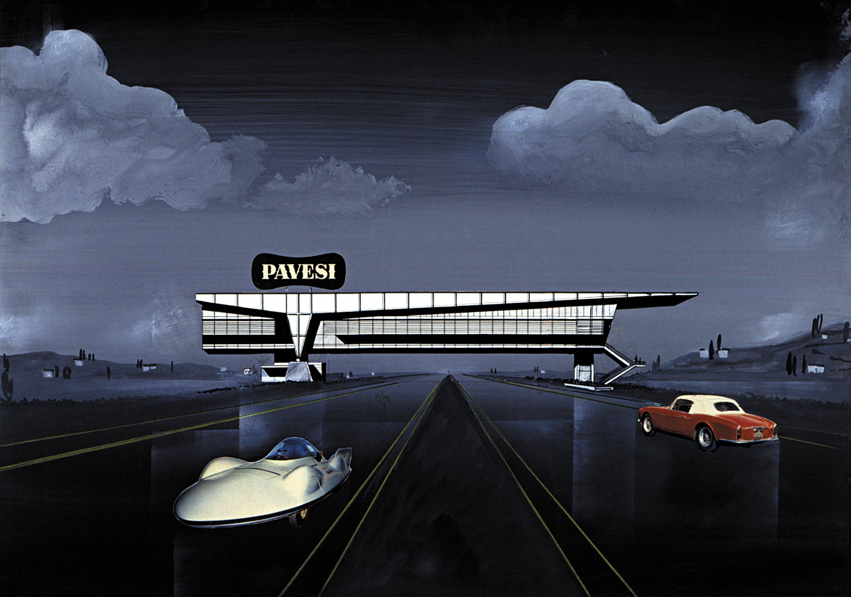 autogrill2.jpg (2708×1901) Drawing for Restaurant Bridge over a highway, Italy 1960s