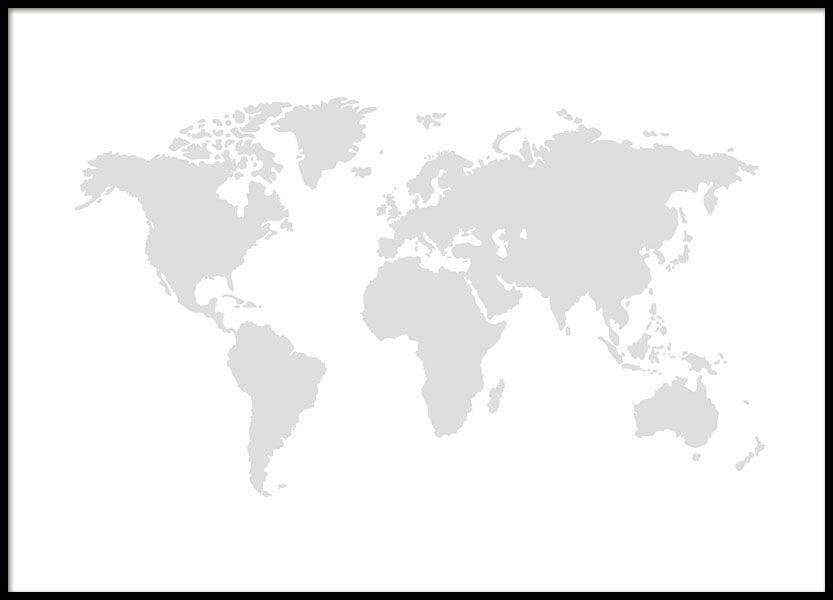 Wereldkaart In Grijs Met Witte Achtergrond Vind Meer Wereldkaarten Op Www Desenio Nl