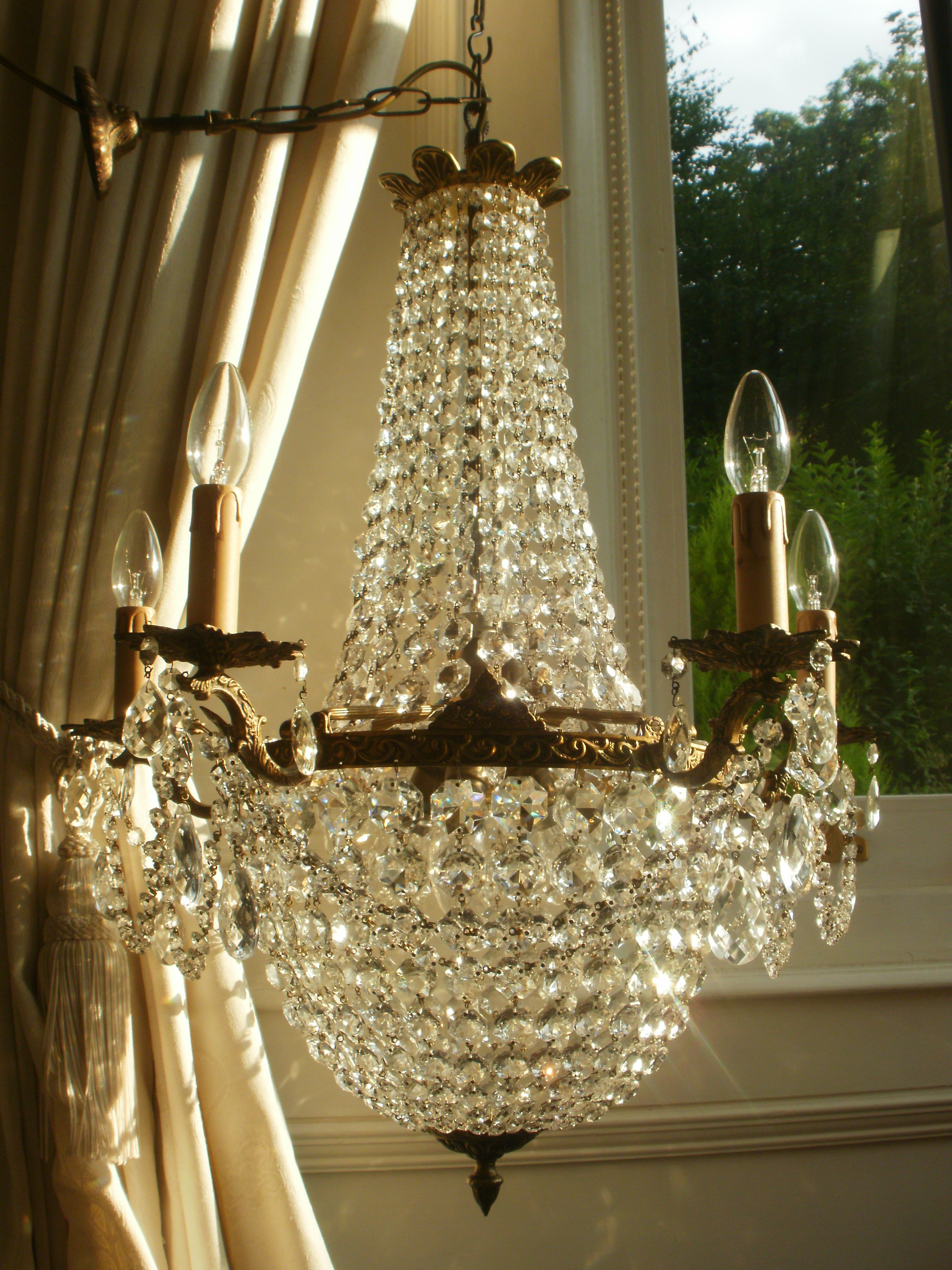 Vintage French Empire Bronze Crystal Chandelier