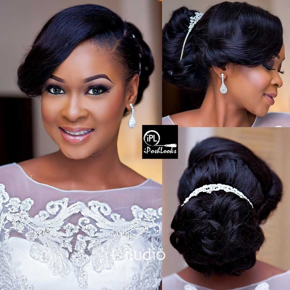 side sweep with tiara atop chignon | wedding ideas in 2019