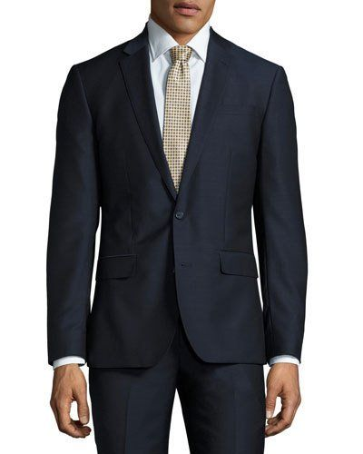 Slim-Fit Two-Piece Wool Suit, Navy