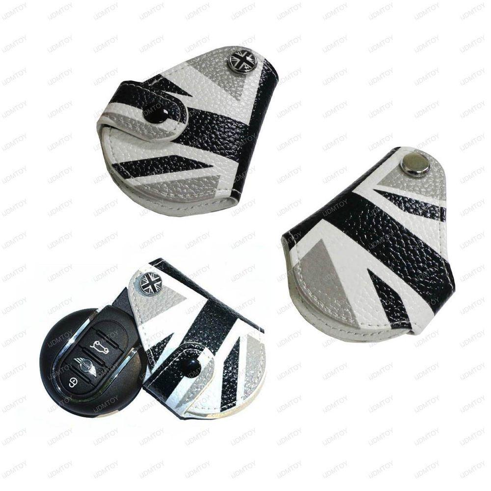 black union jack uk flag style real leather key fob holder for