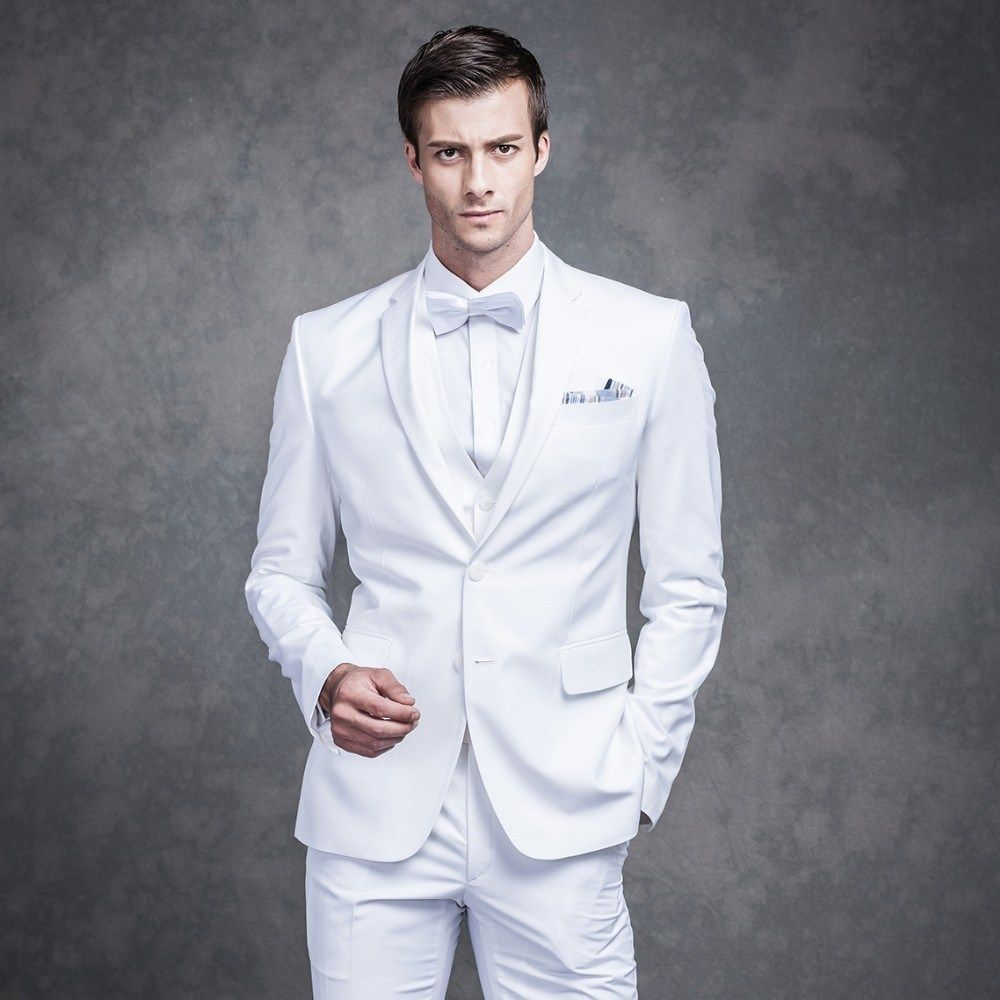 Handsome White Mens Dinner Party Prom Suits Groom Tuxedos Groomsmen ...