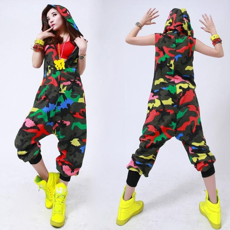 84c471cfabfe6 Camouflage Hip Hop Dance Jumpsuit in 2019 | 90's Hip Hop fashion ...