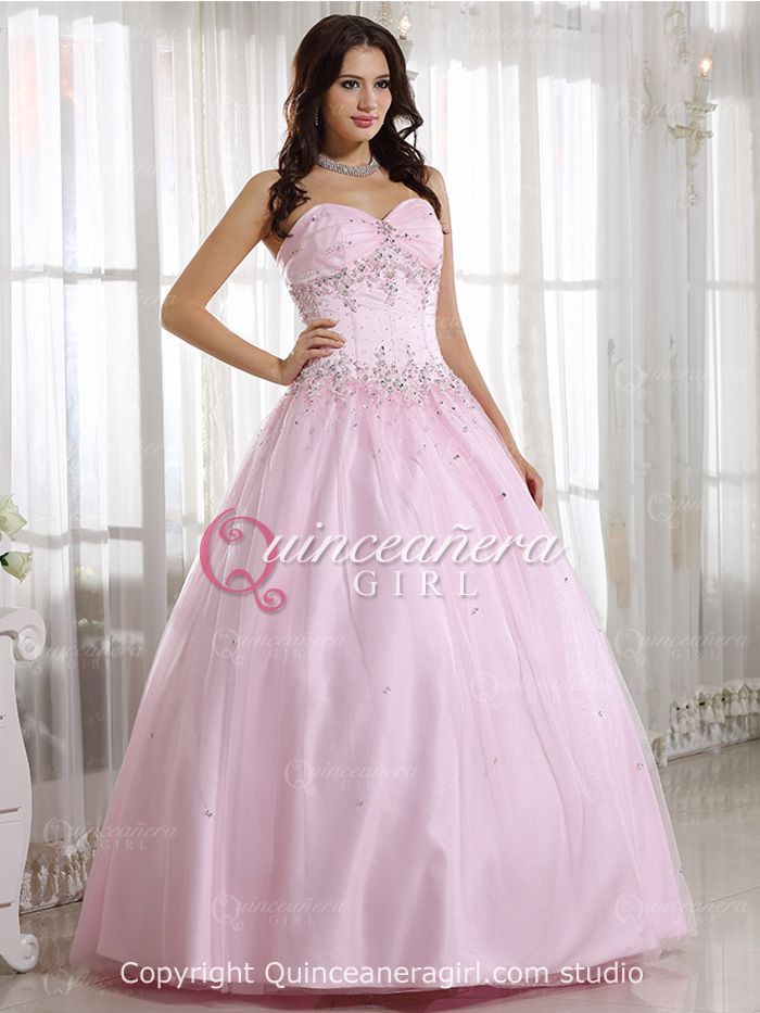 231c07461b8 Pink Puffy Beaded Sweetheart Corset Tulle Satin Long Quinceanera Dress