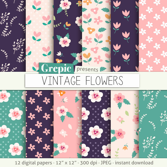 Floral Digital Paper Quot Vintage Flowers Quot Flower Digital Clip Art Papers In Purple Pink Hand Dr Digital Paper Flower Print Pattern Digital Paper Free