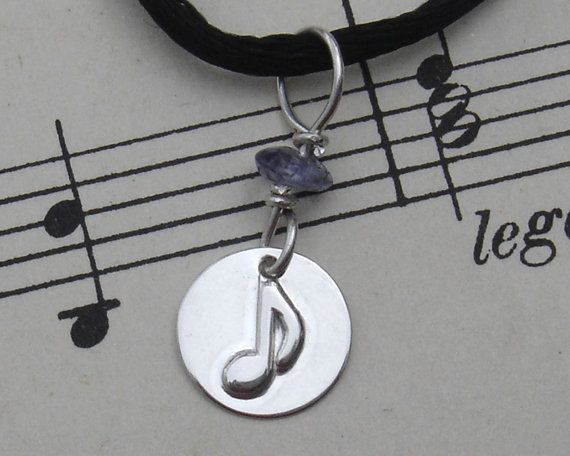 Small Music Note Sterling Silver Pendant With by nicholasandfelice, $ 14.50