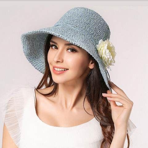 Fashion flower sun hat for women UV protection crochet straw hats ...