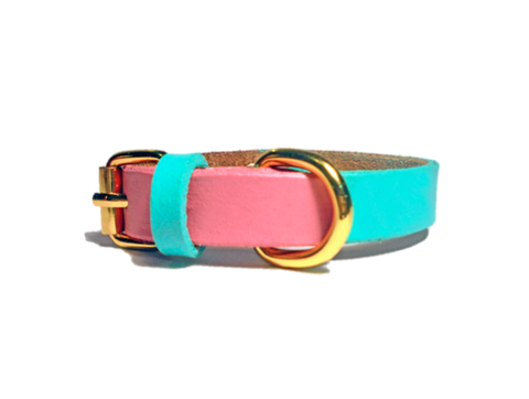 Chloe Duo-Color Pastel Leather Dog Collar