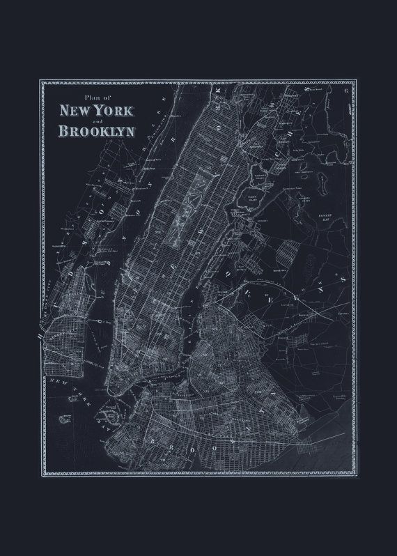 Brooklyn nyc map blueprint map of brooklyn and new york city map brooklyn nyc map blueprint map of brooklyn and new york city map vintage map office wall art professional reproduction malvernweather Gallery