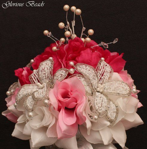 Fuchsia and Pink Beaded Lily Wedding BRIDAL Bouquet ~ Peonies and Roses. Unique French beaded flowers and beaded sprays ~ Can also be used for centerpiece or ceremony flowers!