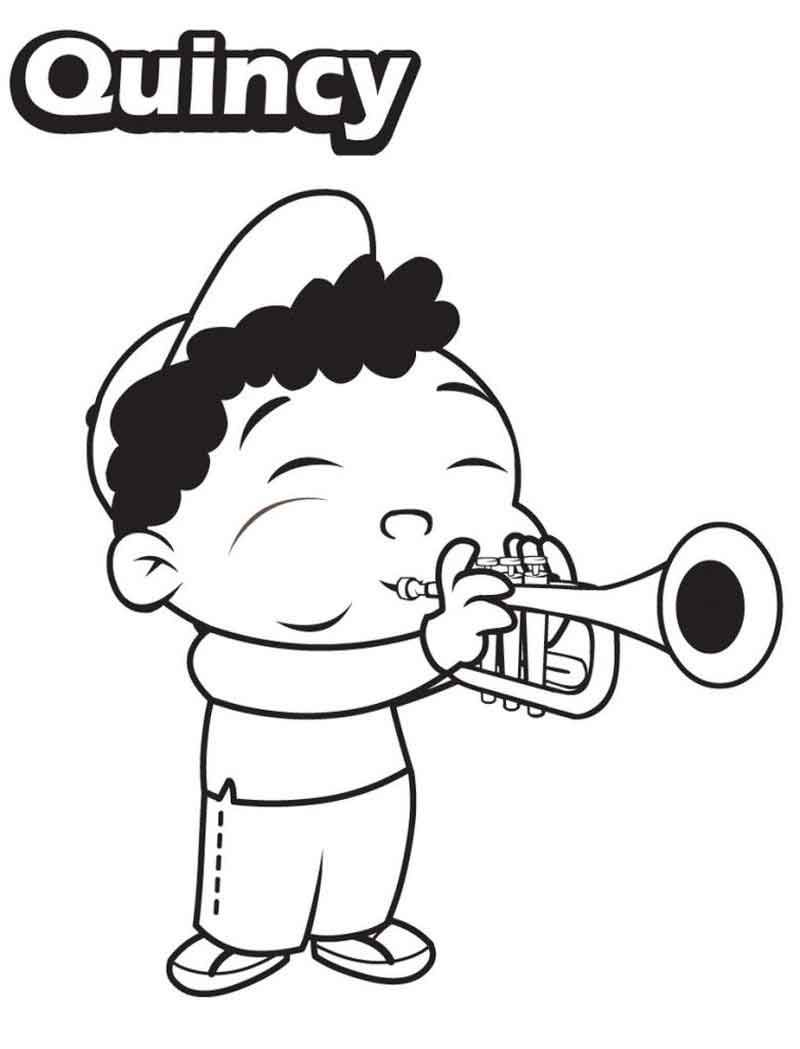 Little Einsteins Coloring Pages Quincy Paying Trumpet Disney