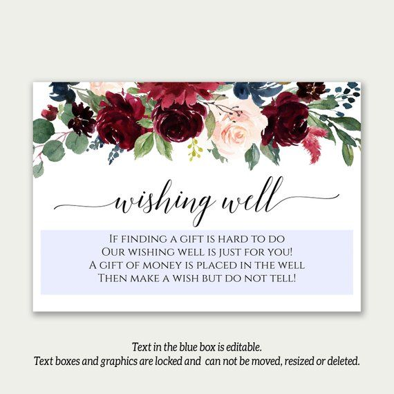 Wording For Money In Lieu Of Wedding Gifts: Wishing Well, Editable Template, Printable Wishing Well