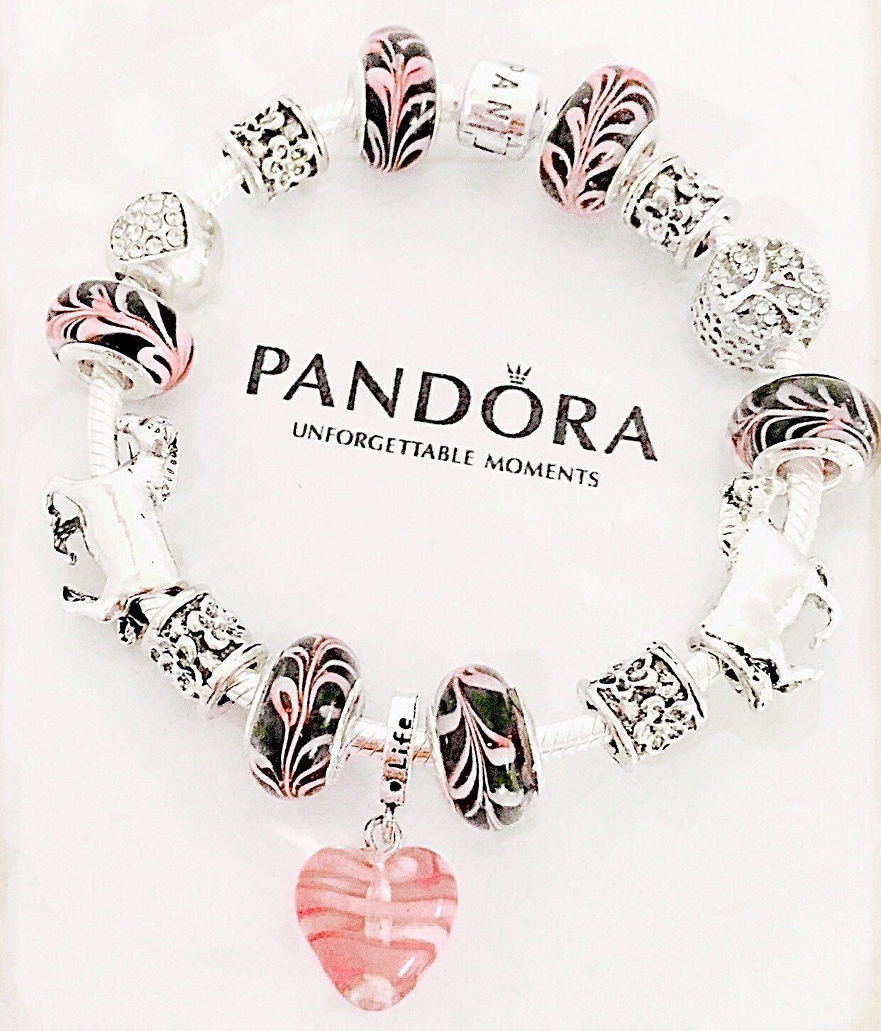 Iconic Pandora Sterling Sliver Bracelet With Barrel Clasp Stamped 925 Ale Inside The Clasp Featuring 2 Beautif Pandora Jewelry Box Pandora Bracelets Jewelry