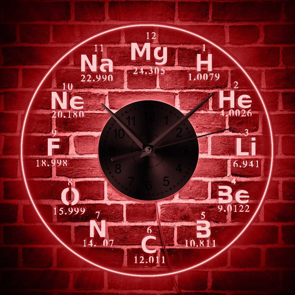Chemical Elements Led Wall Clock Chemistry Color Changes Backlight Modern Wall Clock Science Biology Periodic Table Clock Wall Clock Modern Wall Clock