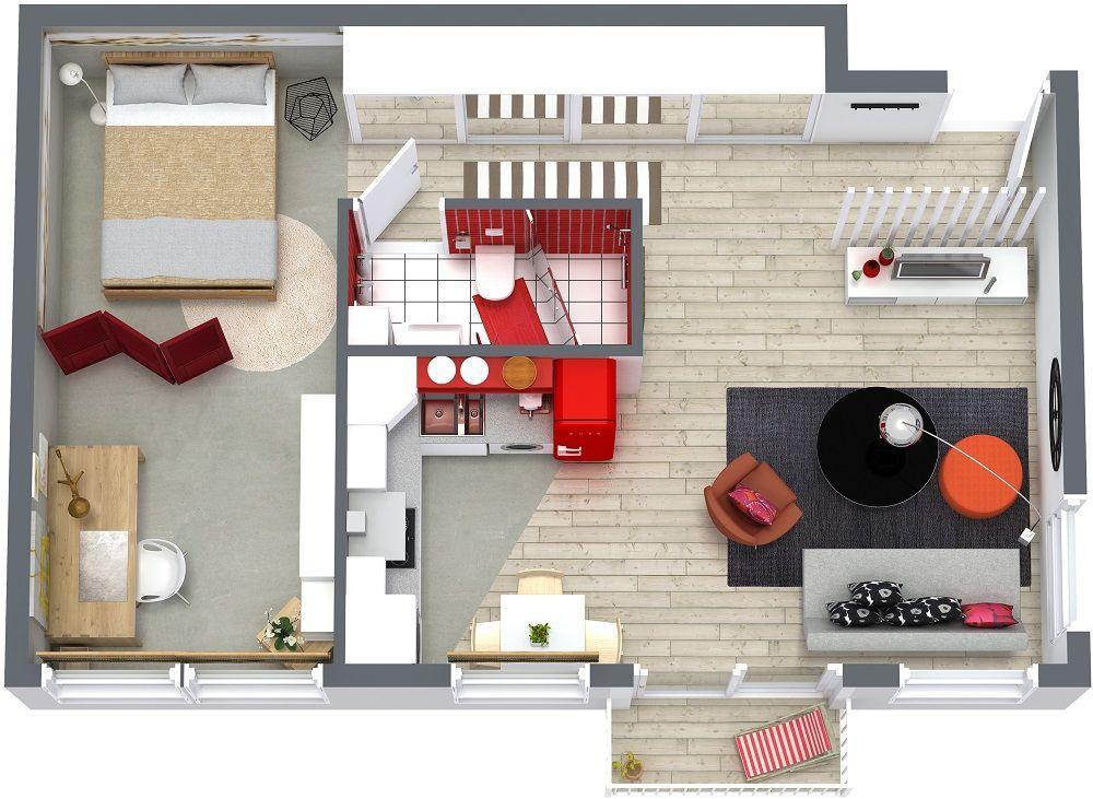 RoomSketcher-One-Bedroom-Floor-Plans