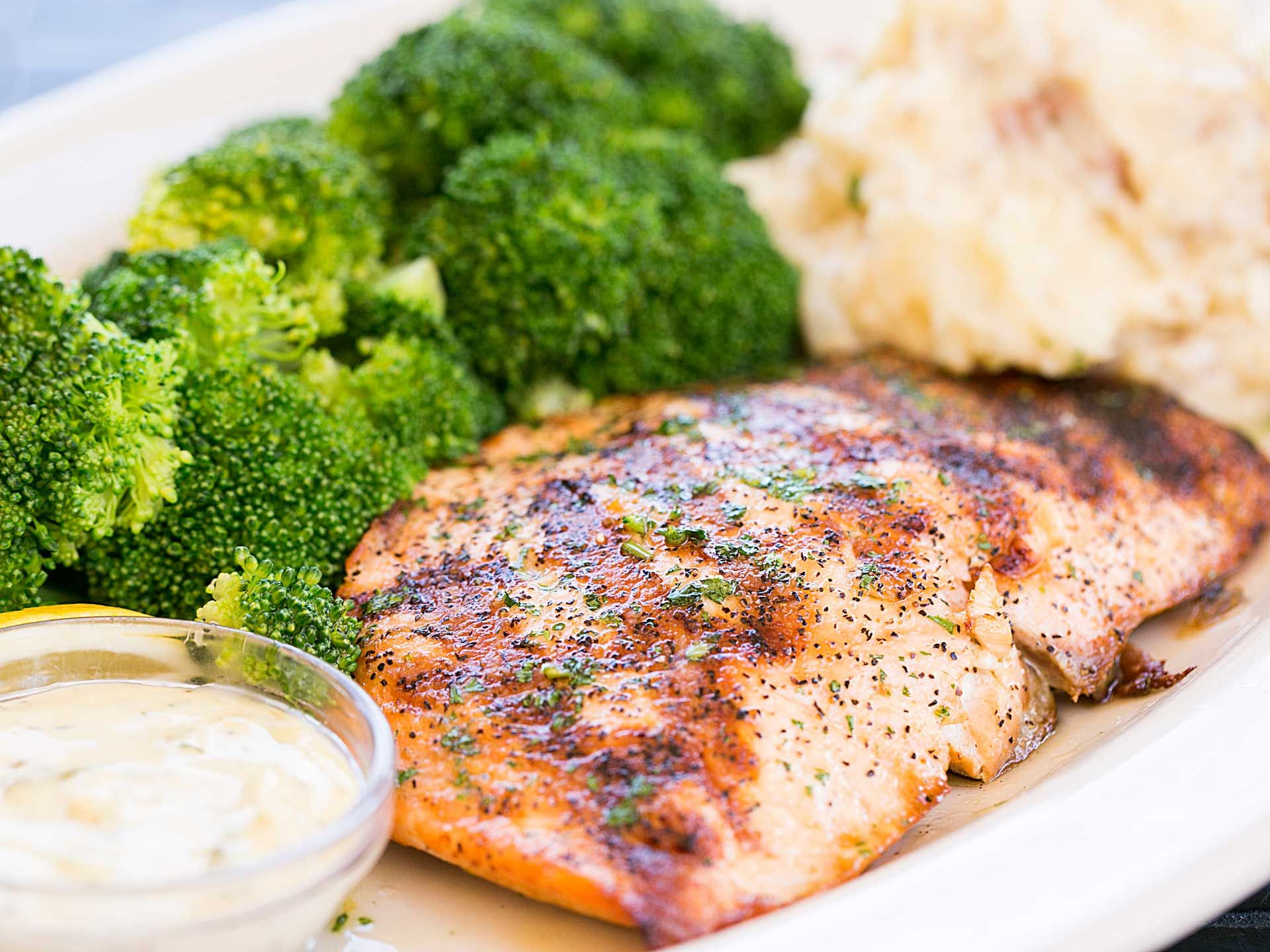 Fresh Grilled Salmon! Served with oh so delicious mashed potatoes ...