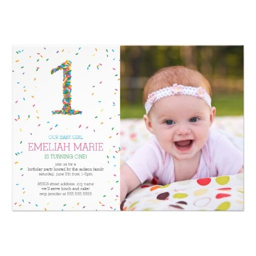 Rainbow Sprinkles 1st Birthday Party Invite Rainbow sprinkles - invitation card for ist birthday