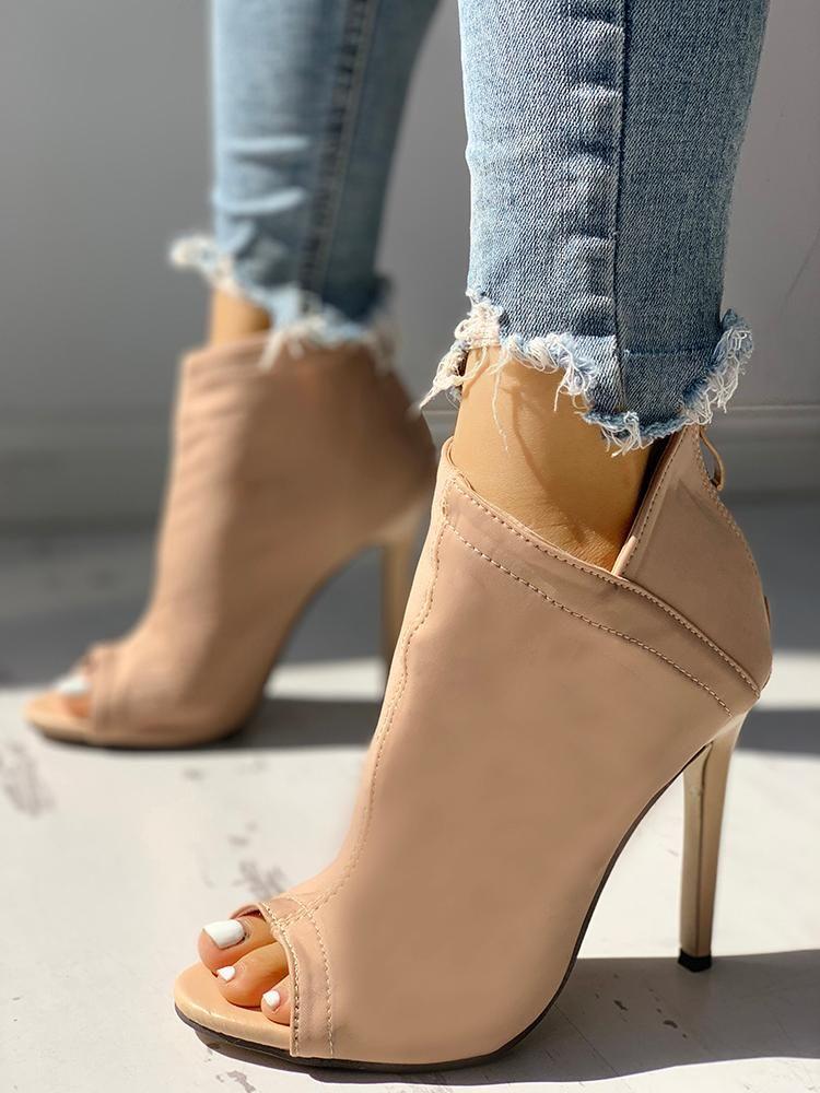 19ae5658333 Solid Peep Toe Zipper Up Thin Heeled Boots