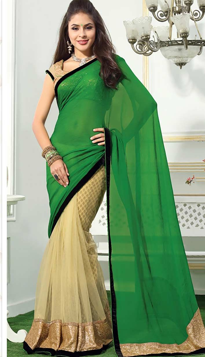 Buy Latest Indian Designer Green Nett Chiffon Designer Saree online at affordable price  at -http://bit.ly/GreenNettDesignerSaree