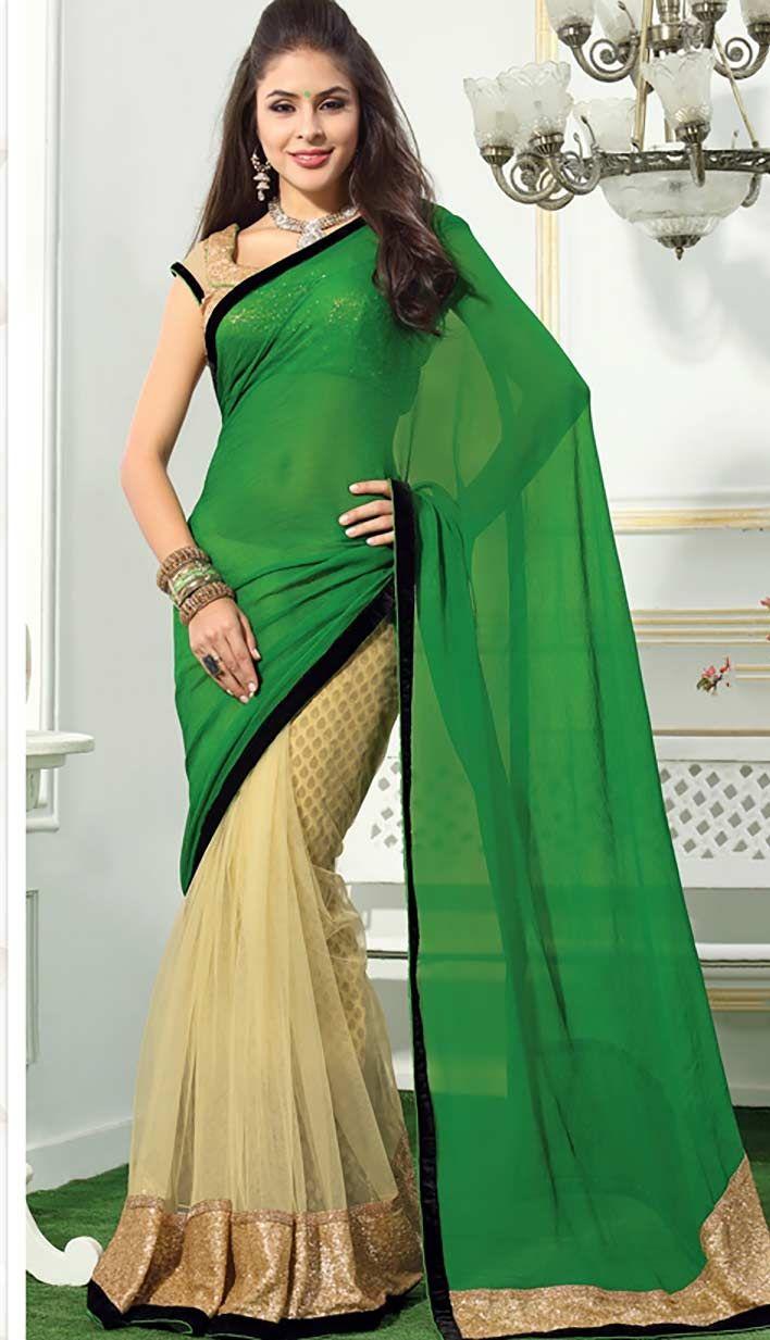 Buy Latest Indian Designer Green Nett Chiffon Designer Saree online at affordable price  at -http://bit.ly/GreenNettDesignerSaree