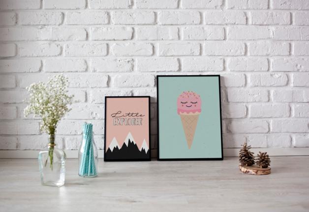 Ice cream print kids poster ice cream poster decoracion infantil habitaci n infantil y - Poster decoracion ...