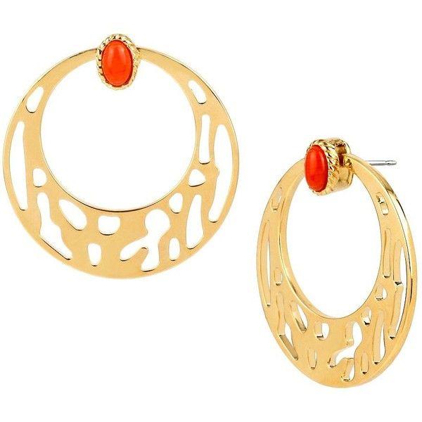 Diane Von Furstenberg Caribbean Coral Cabochon Geometric Cutout Hoop... ($78) ❤ liked on Polyvore featuring jewelry, earrings, red, diane von furstenberg, red earrings, red hoop earrings, cabochon jewelry and geometric earrings