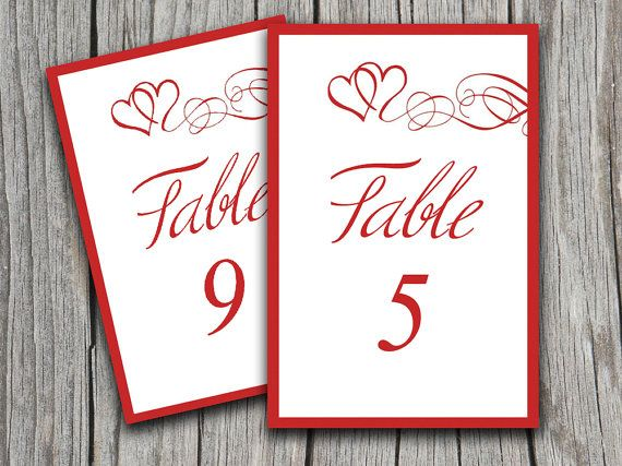Instant Download Heart Swirls Table Number Cards Microsoft Word Template Valentine Red 4 X 6 Weddi Card Template Table Number Cards Printable Table Numbers