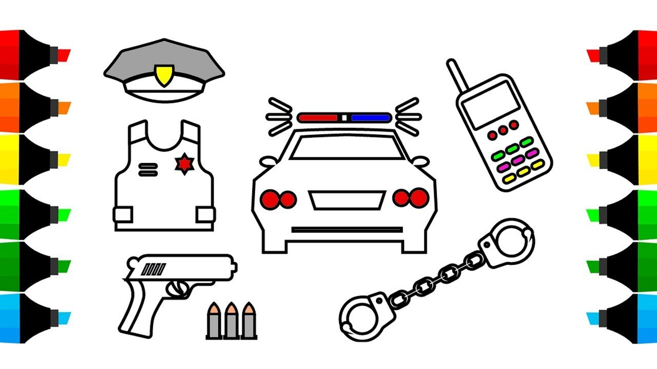 how to draw car and police icons coloring pages drawing for kids