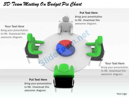 1813 3D Team Meeting on Budget Pie Chart Ppt Graphics Icons - pie chart templates