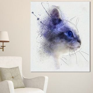 Designart 'Blue Cat Face Watercolor Sketch' Large Animal Canvas Artwork