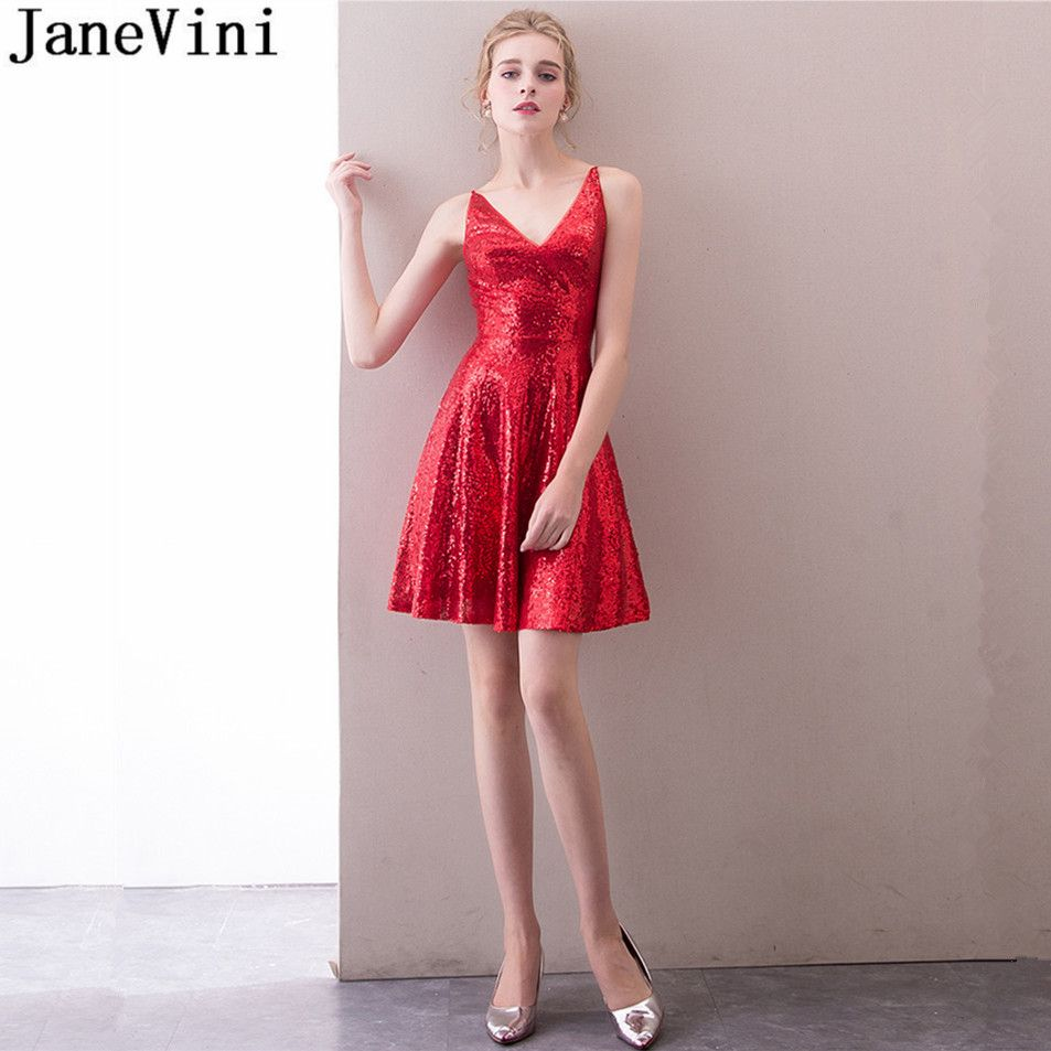 JaneVini Sexy Short Sequin Bridesmaid Dresses Girl Mini V-Neck Above Knee  Red Homecoming Ladies Dresses For Wedding Party Nedime 4fe43babf078
