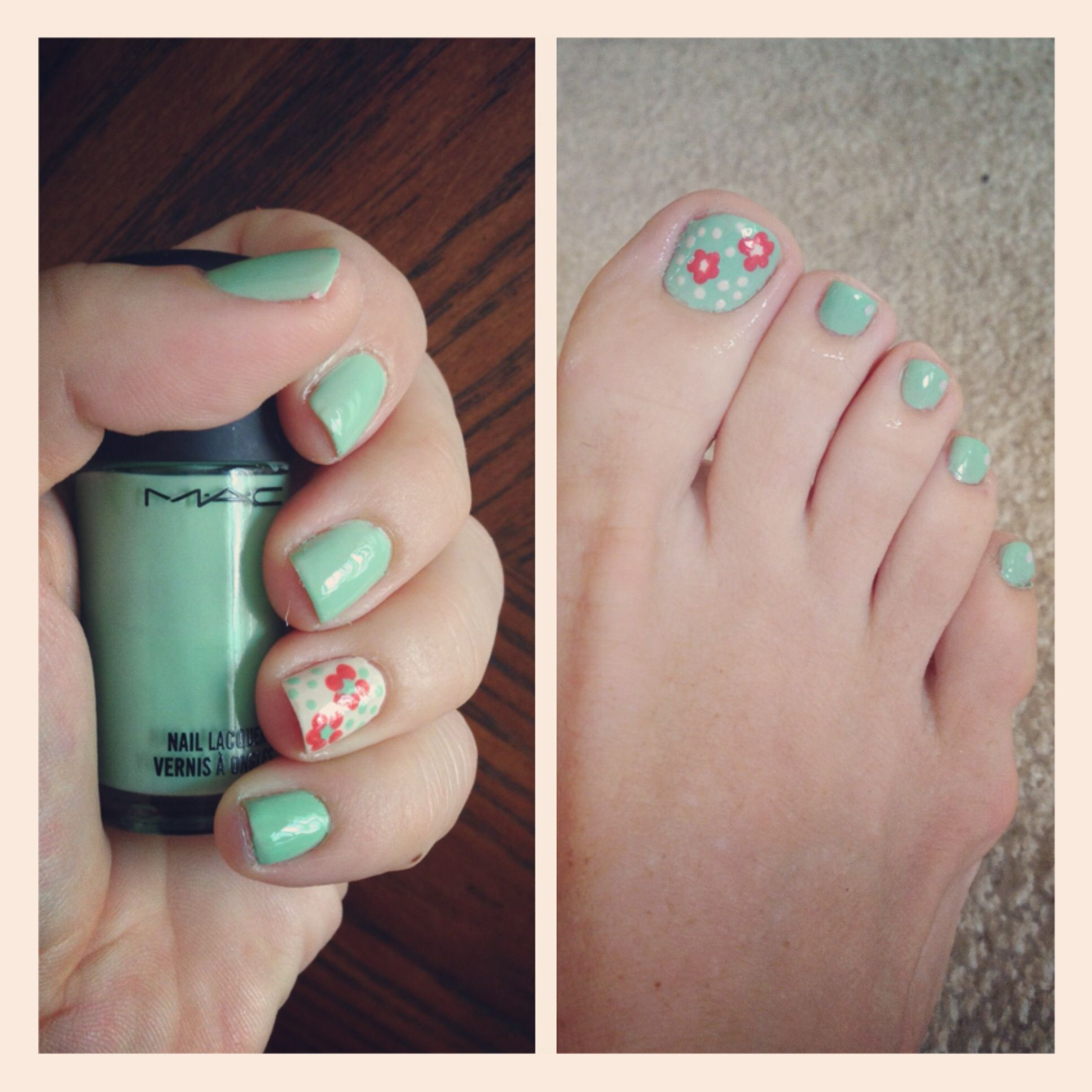 Mint and coral summer manicure nailedit vintage summernails