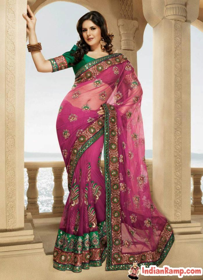 d6a5f3db056b00 Zarine Khan in Transparent Sarees Bollywood Collection www.IndianRamp.com