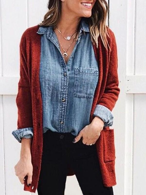 New Burgundy Pockets V-neck Long Sleeve Casual Cardigan Sweater